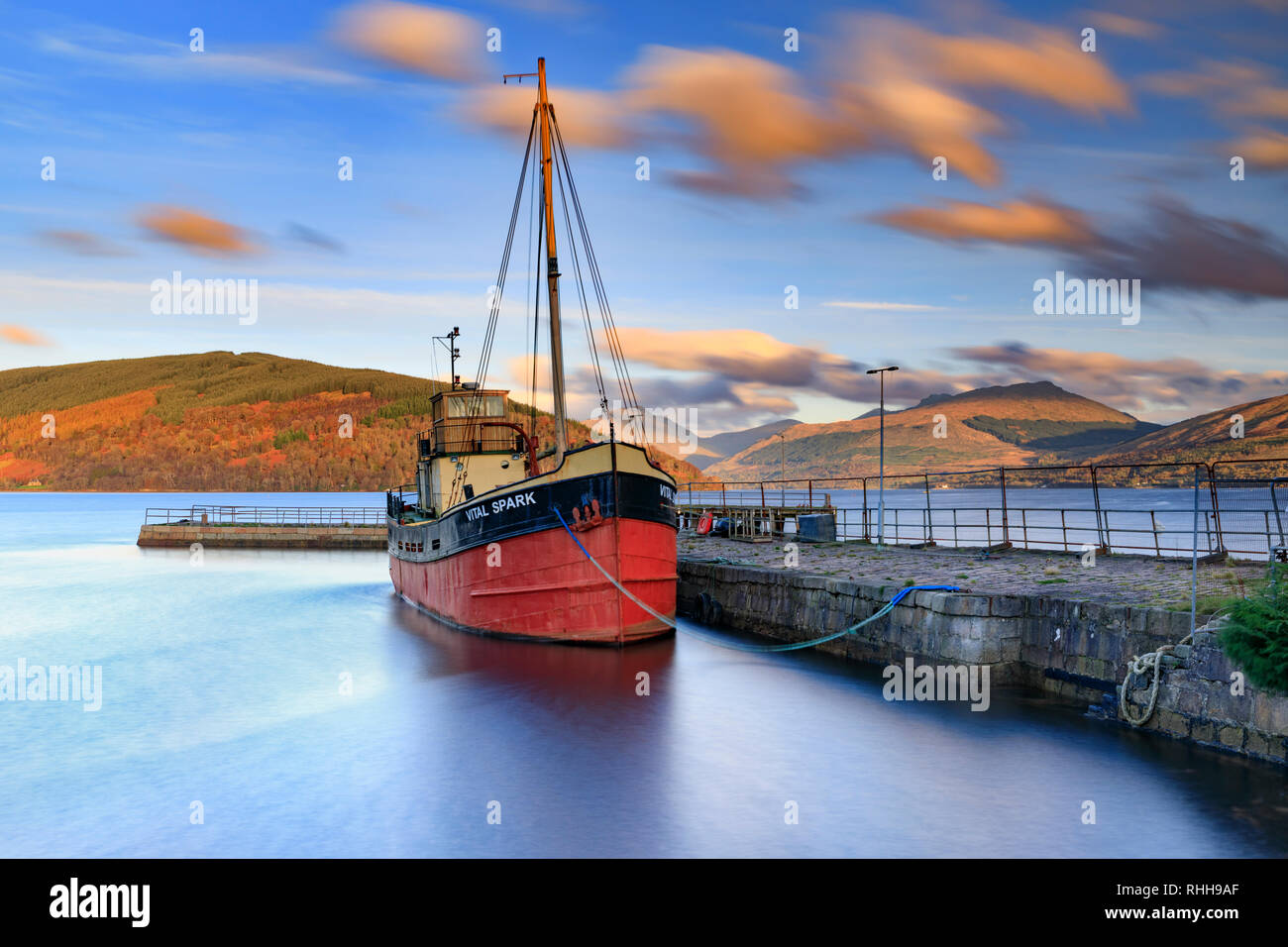 The Clyde puffer Vital Spark moored in Inveraray Harbour. - Stock Image
