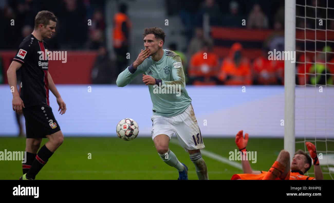 Leverkusen, Germany. 2nd Feb 2019.   Bundesliga, matchday 20, Bayer 04 Leverkusen vs FC Bayern Muenchen: Torjubel Leon Goretzka (FCB)                  Credit: Juergen Schwarz/Alamy Live News - Stock Image