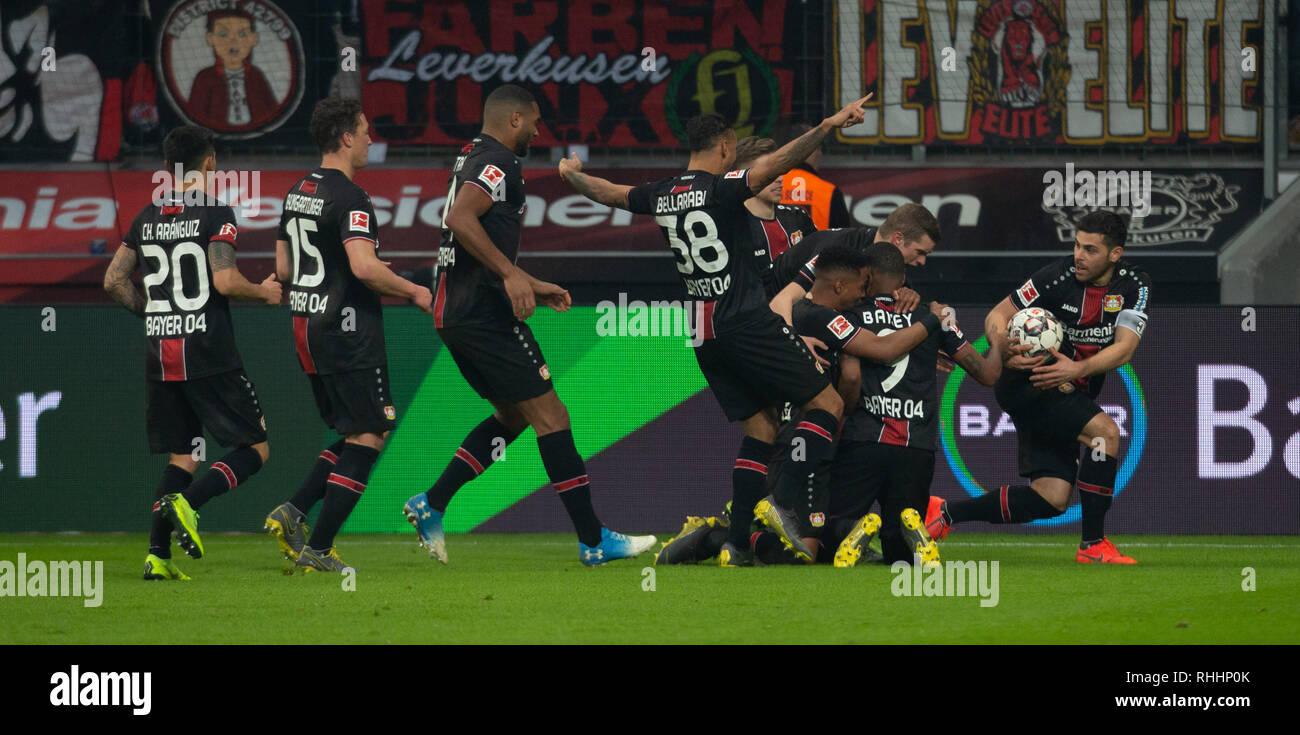 Leverkusen, Germany. 2nd Feb 2019.   Bundesliga, matchday 20, Bayer 04 Leverkusen vs FC Bayern Muenchen: Torjubel um Leon Bailey (B04)                  Credit: Juergen Schwarz/Alamy Live News - Stock Image