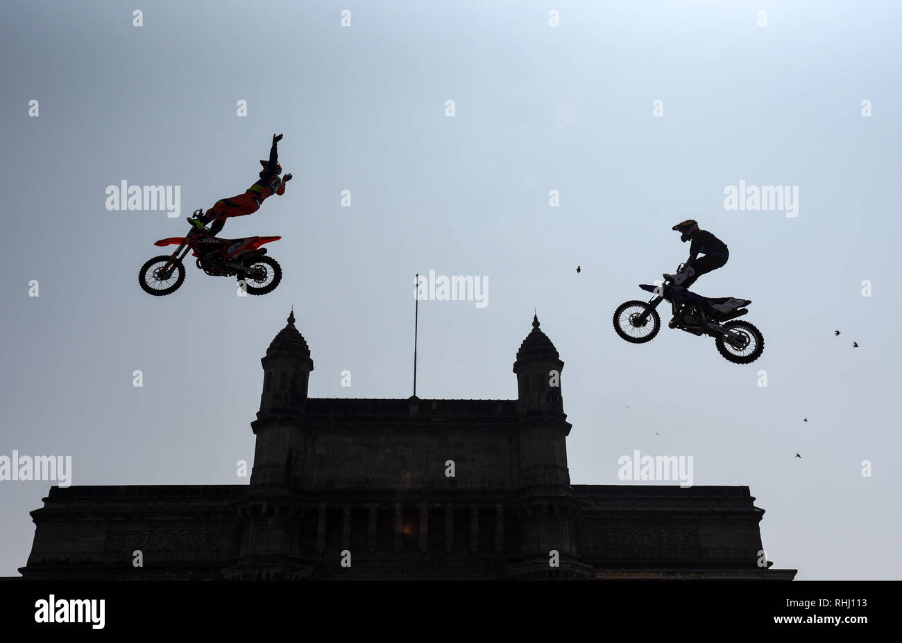 Beijing, India. 2nd Feb, 2019. FMX Riders perform freestyle at Gateway of India in Mumbai, India, Feb. 2, 2019. Credit: Stringer/Xinhua/Alamy Live News - Stock Image