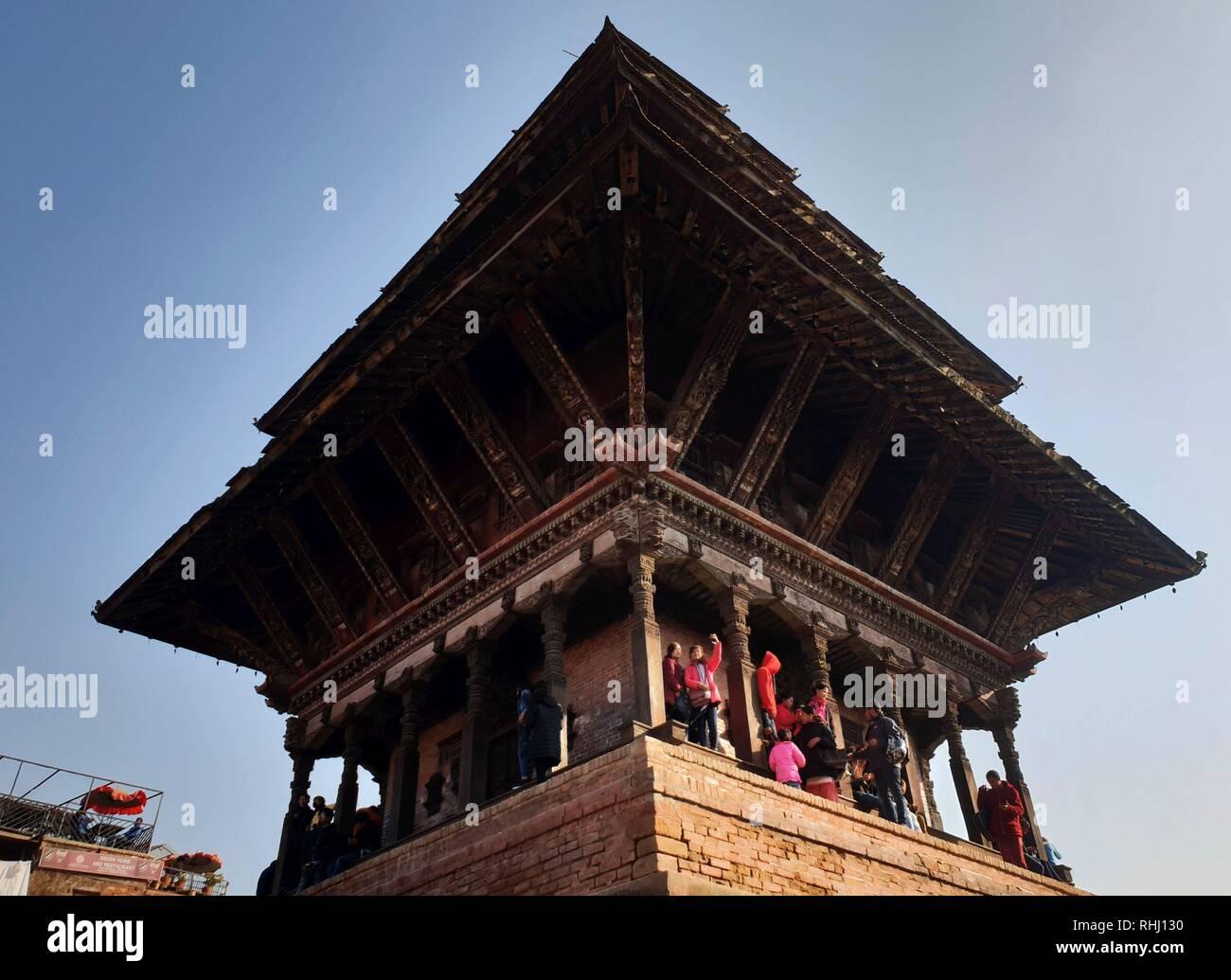 Beijing, Nepal. 2nd Feb, 2019. People visit the Nyatapole temple in Bhaktapur, Nepal, Feb. 2, 2019. Credit: Sunil Sharma/Xinhua/Alamy Live News - Stock Image