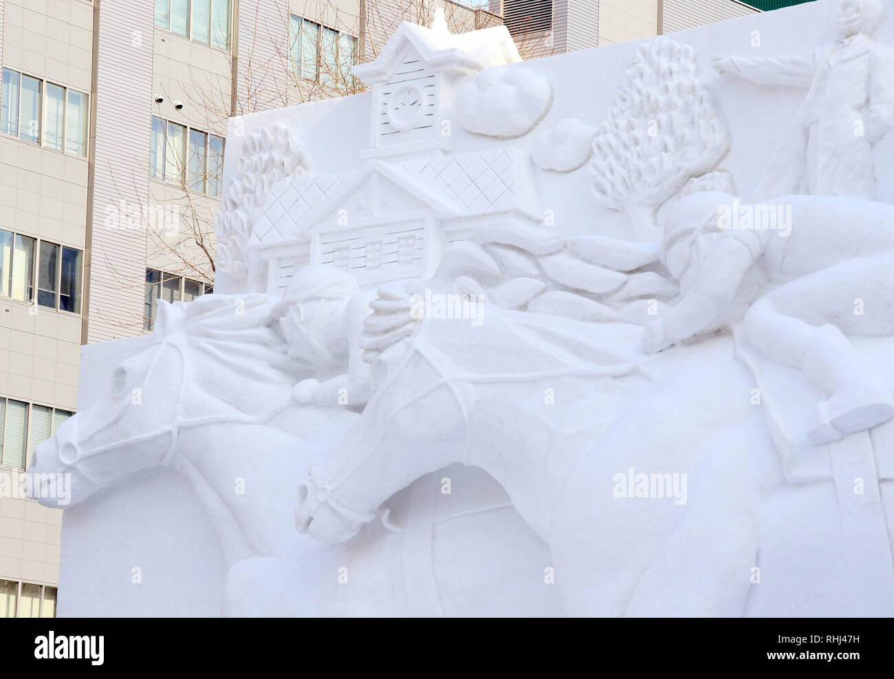 Sapporo Japan 3rd Feb 2019 A Large Snow Sculpture Of Horse Racing Is Displayed At The