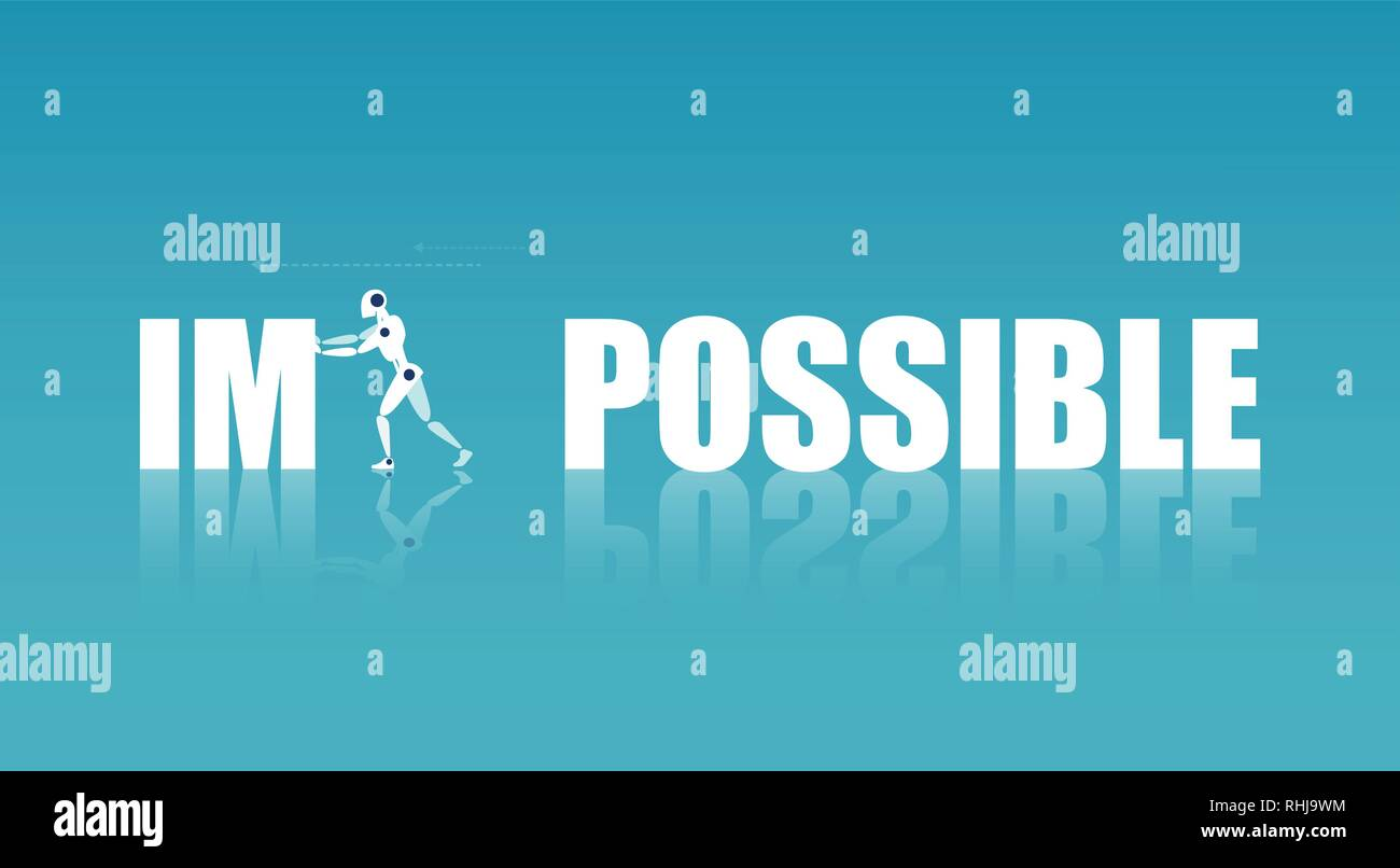 Technology progress concept. Vector of a robot changing word impossible to possible - Stock Image
