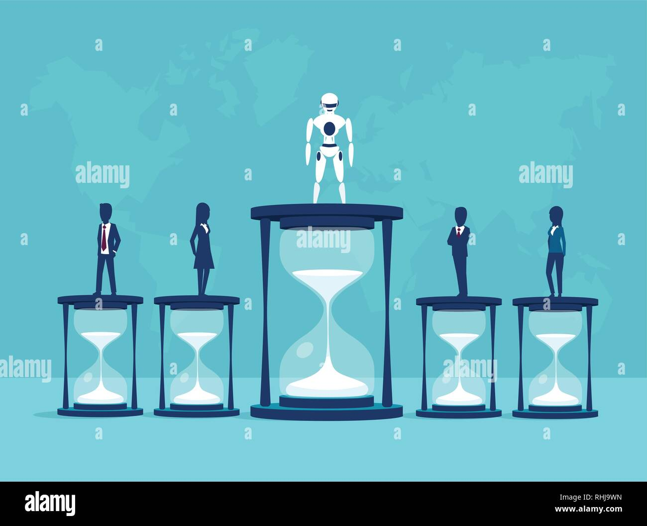 Artificial intelligence vs humans and time efficiency concept. Vector of a robot winning a competition wtih people in productivity - Stock Vector
