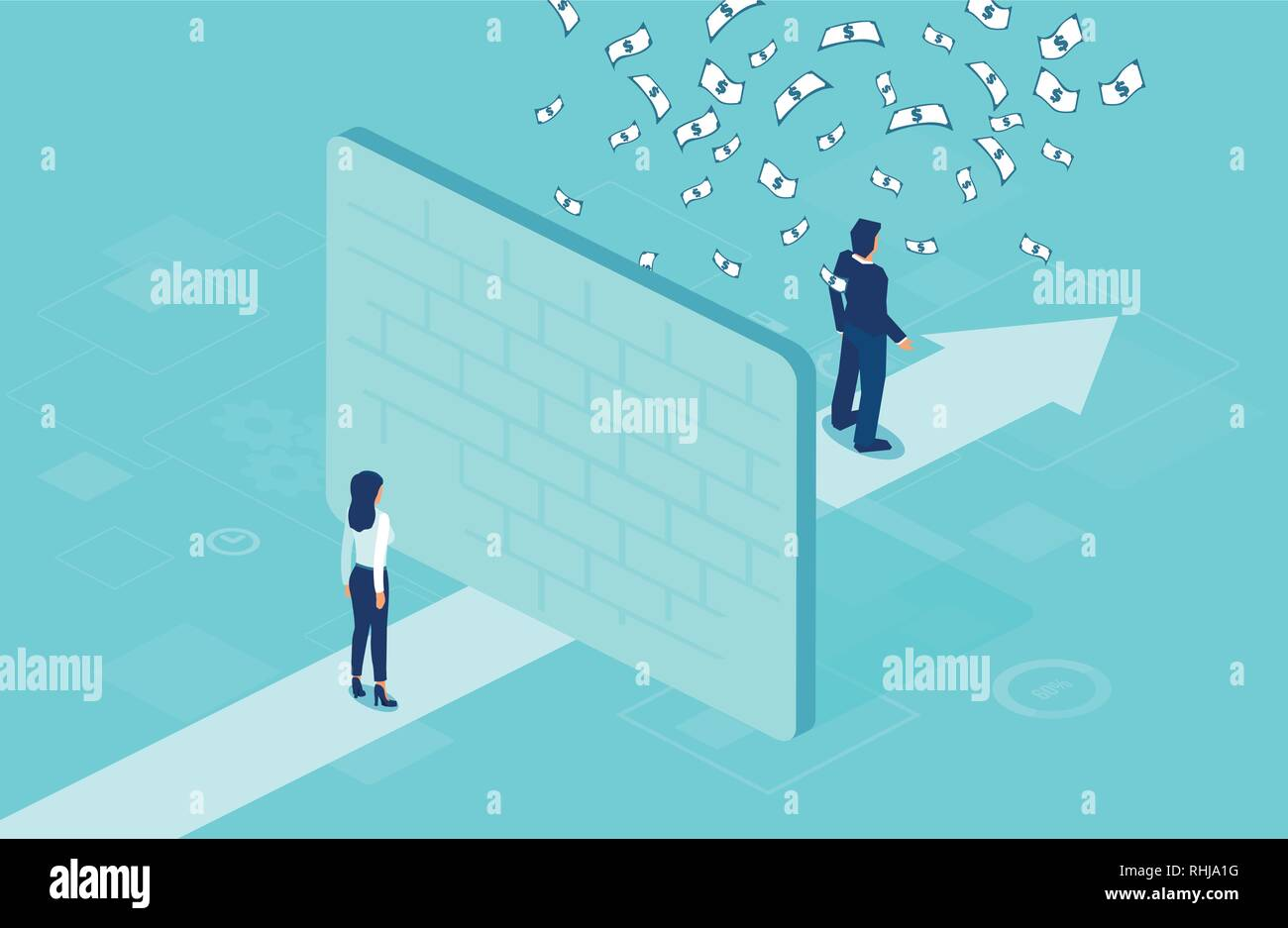Employee pay difference and gender gap concept. Vector of a businesswoman separated by wall from businessman under money rain - Stock Image