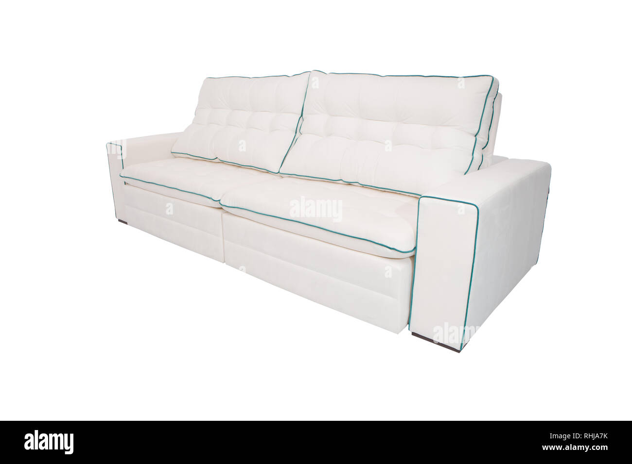 Modern sofa white fabric with cyan details isolated on white ...