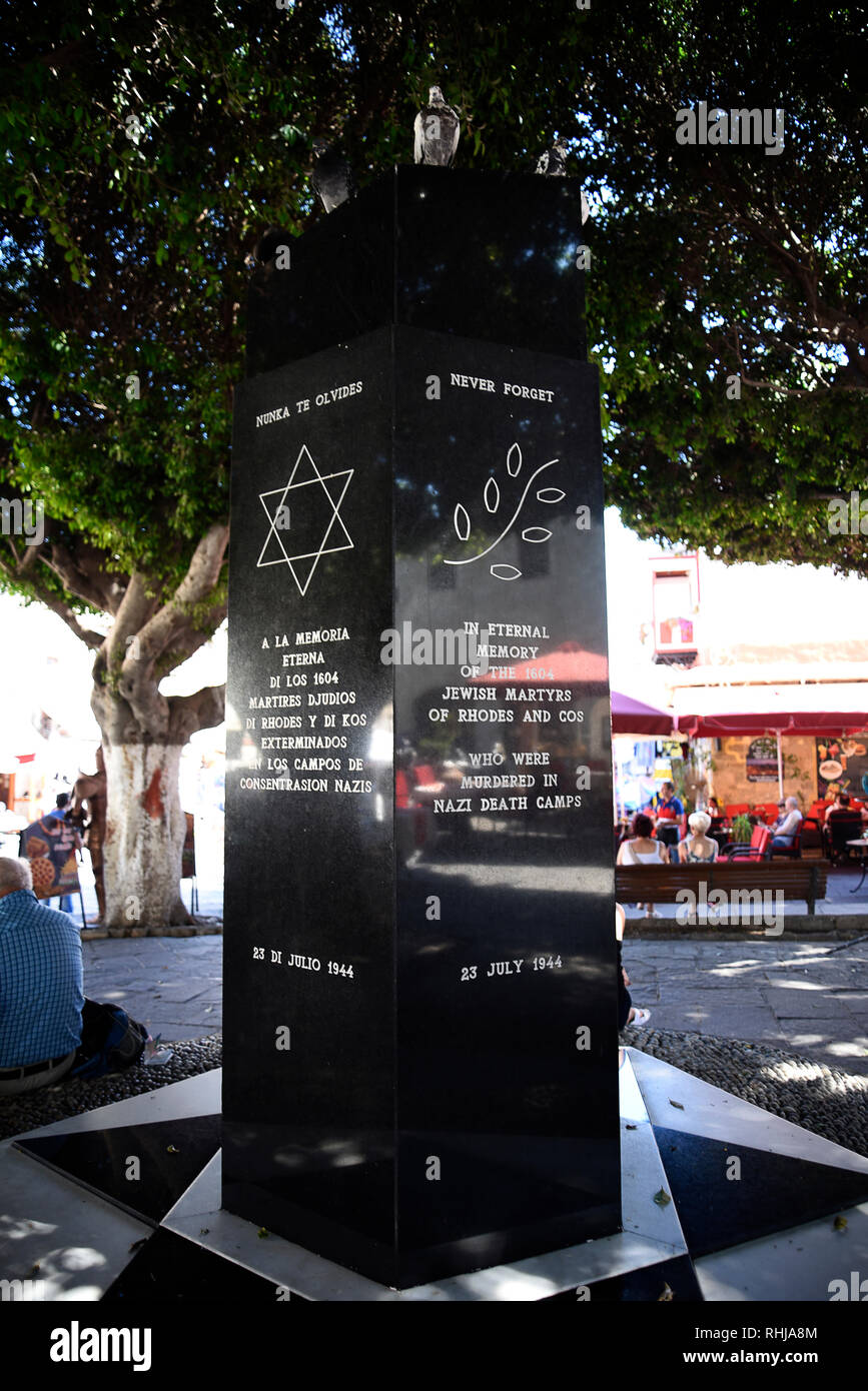Memorial to the Jewish Victims of the Nazi Holocaust on the island of Rhodes.More than 1,550 of the 1,700 Jews met their deaths in Concentration Camps - Stock Image