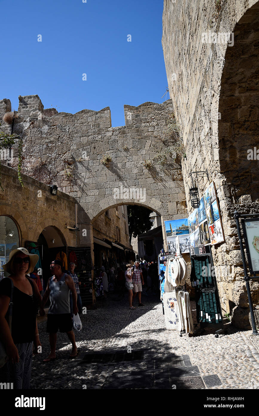 Rhodes Town resembles a medieval time capsule behind a ring of high walls .It has many layers of architectural history in a maze of narrow streets. Stock Photo