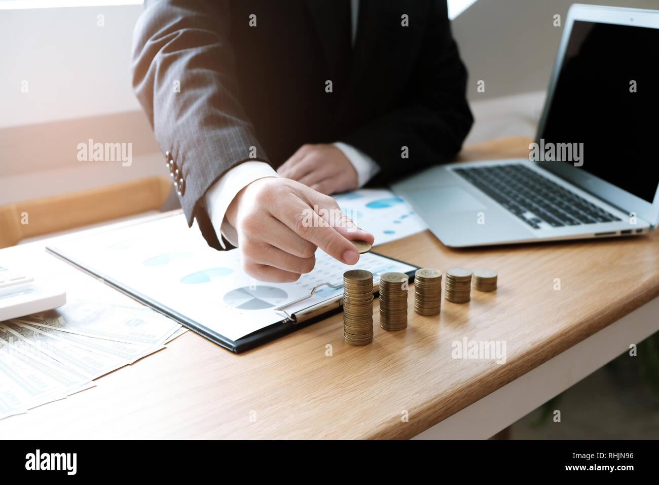 Auditor or internal revenue service staff, Business women checking annual financial statements of company. Audit Concept. - Stock Image