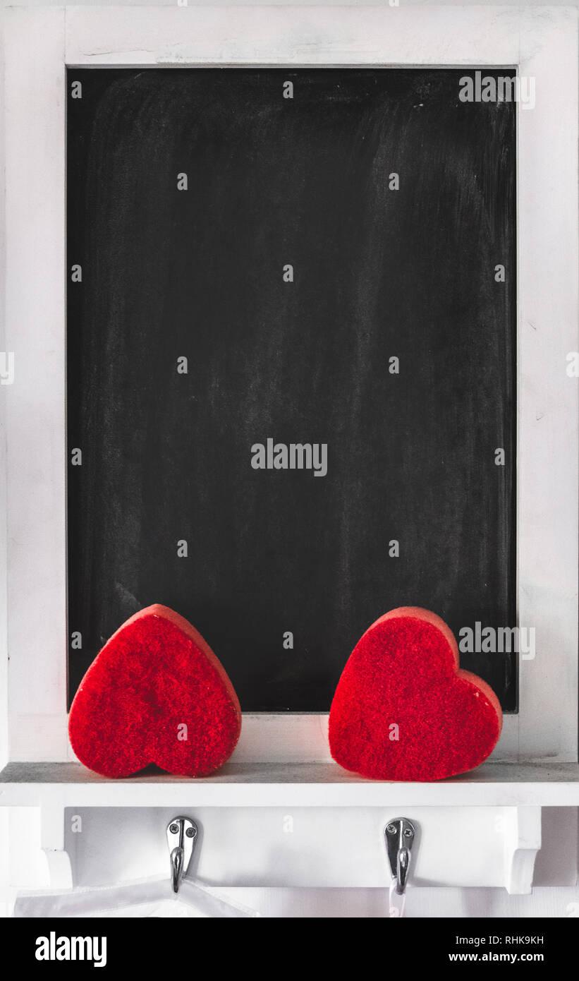 blackboard vertical background valentine day chalkboard framed empty - Stock Image