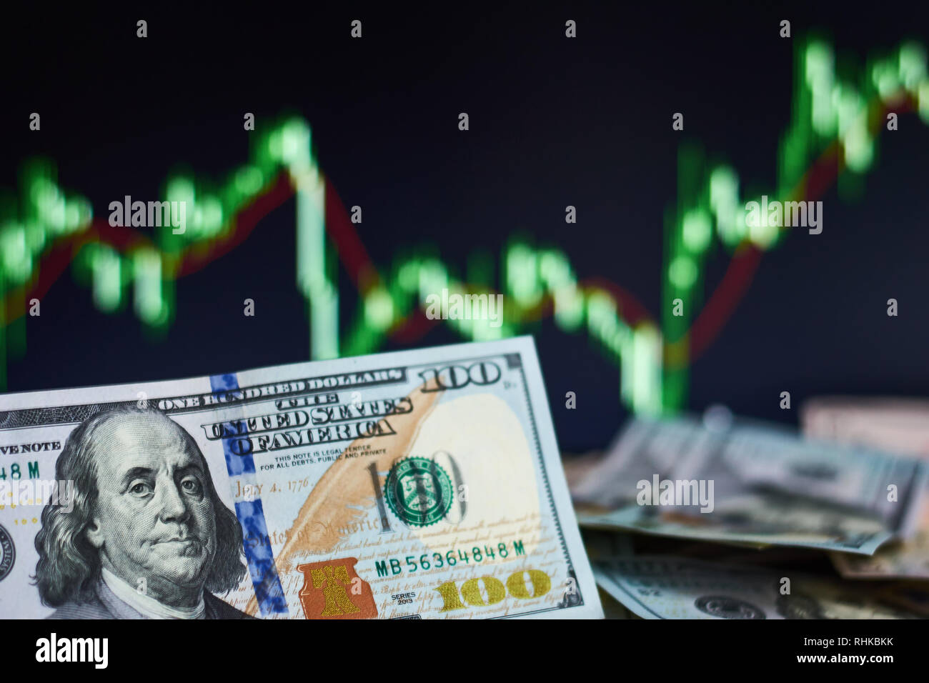 Dollar banknotes against stock market or forex trading graph and candlestick chart. Economy trends concept - Stock Image