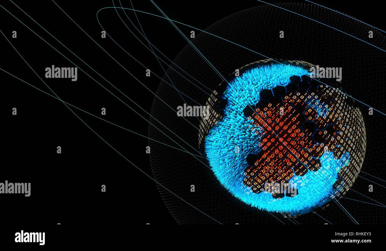 Internet smart earth technology, network data transmission Stock Photo
