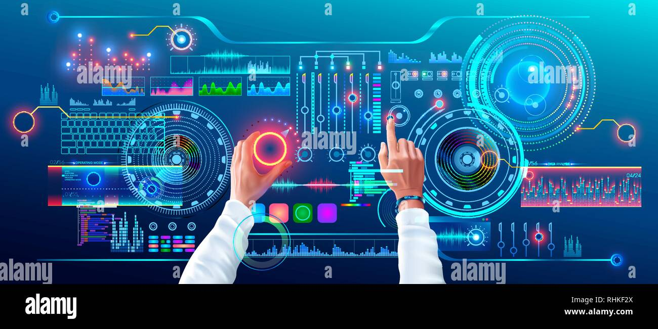 86e6ba537ec0 Scientist Work with Futuristic Holographic HUD Interface. User Hands  Controls Abstract Tech Elements Virtual Digital