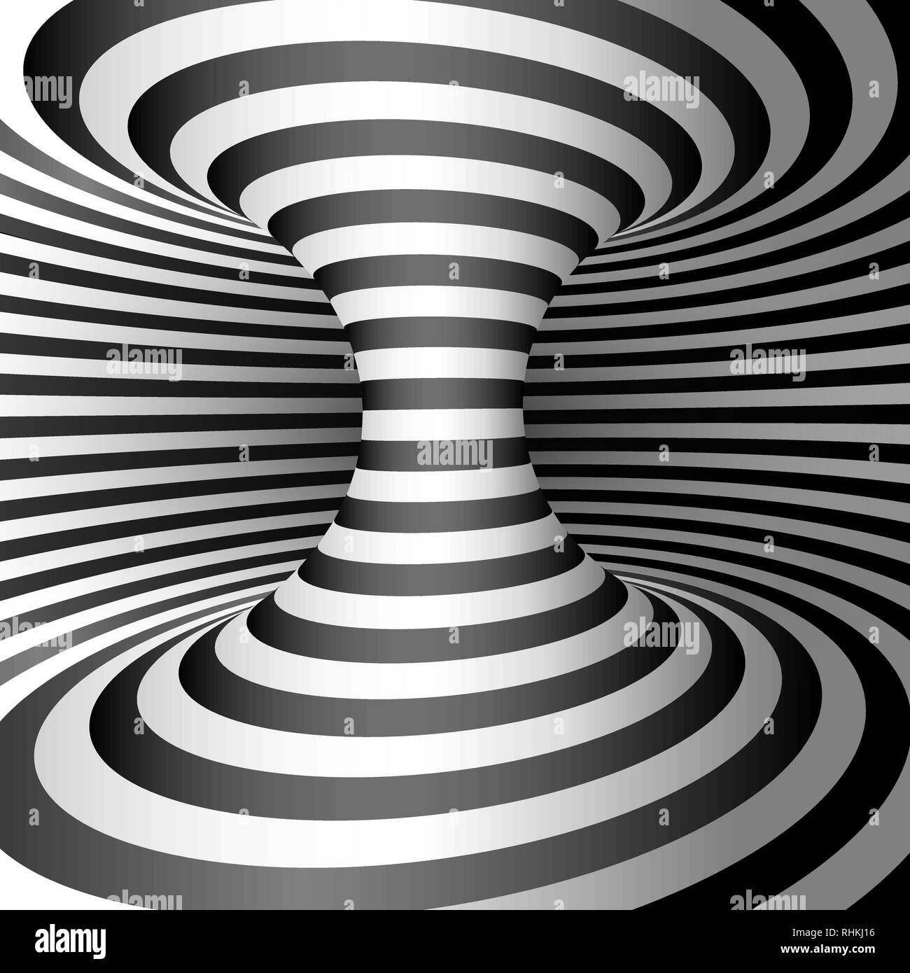 Wormhole. Abstract 3d Striped Illusion