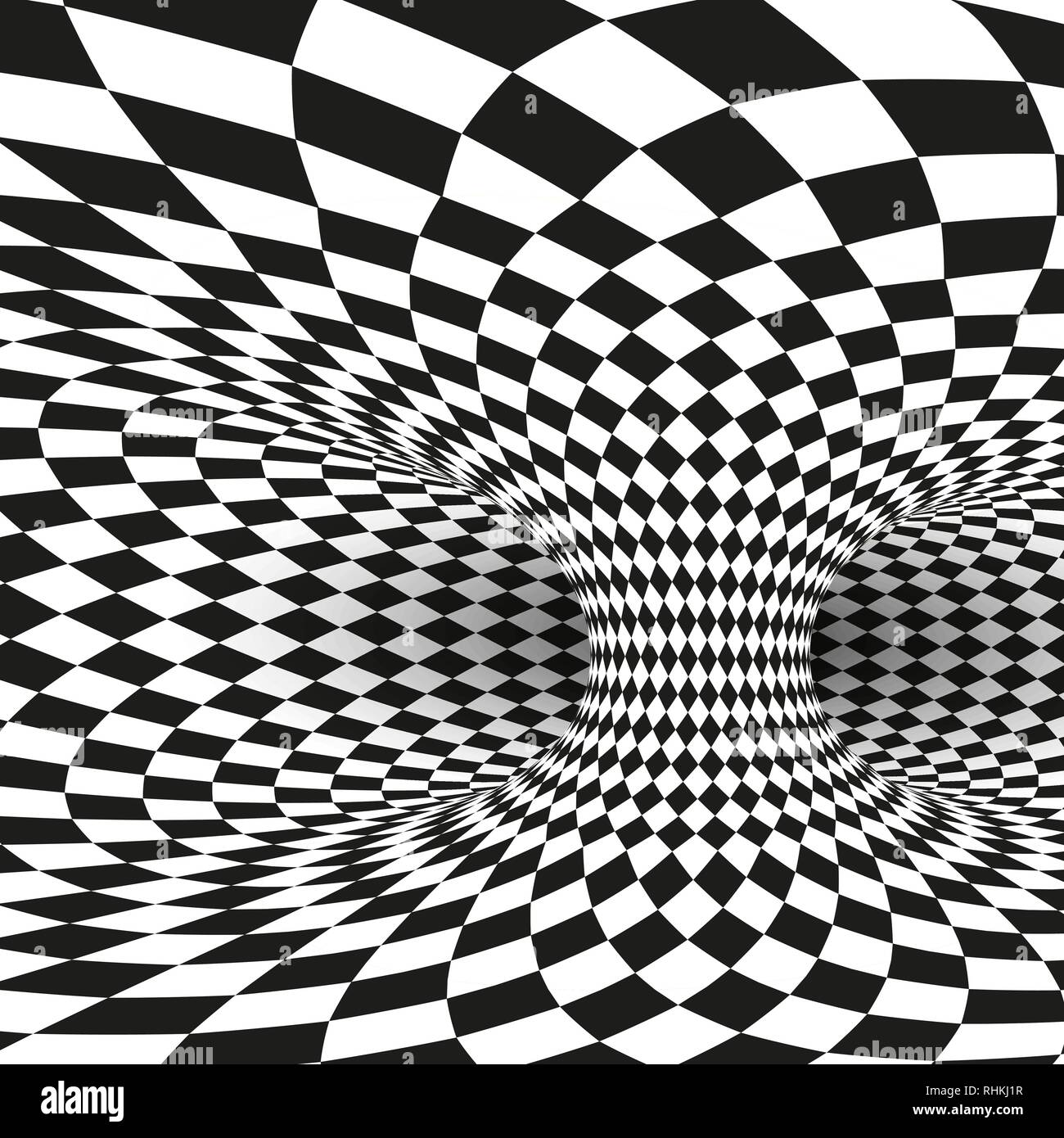 Geometric Square Black and White Optical Illusion. Abstract Wormhole Tunnel Distort. Vector Illustration Stock Vector