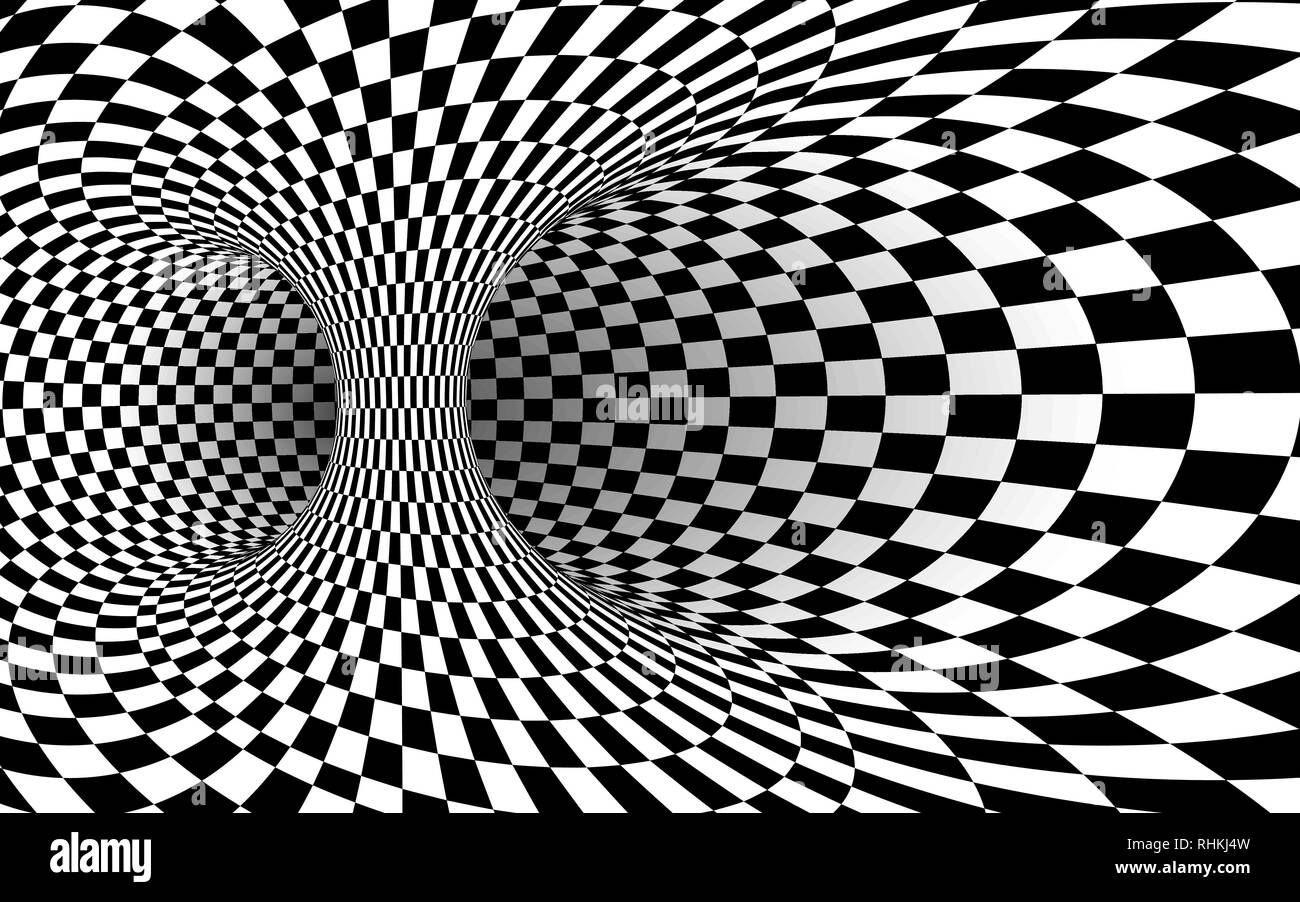 Geometric Square Black and White Optical Illusion. Abstract Wormhole Tunnel. Vector Illustration Stock Vector