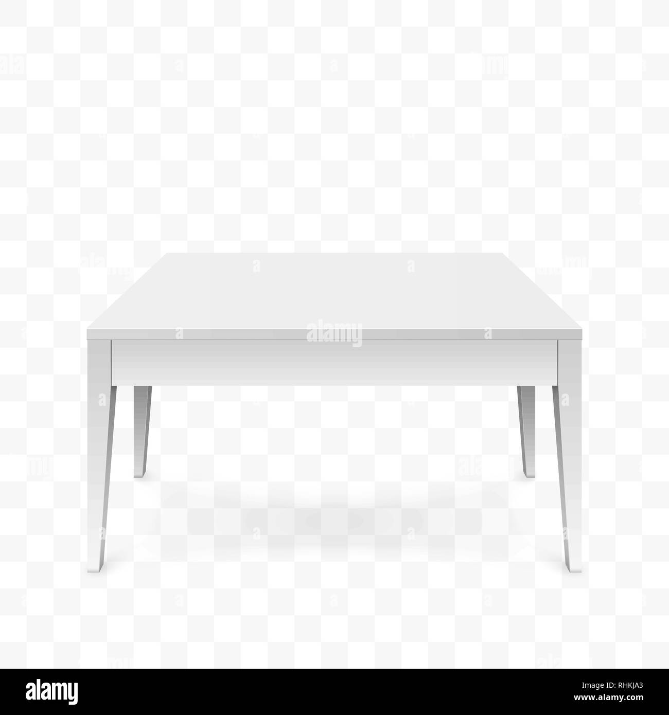 Realistic white table isolated on transparent background. White office table with shadow. Vector illustration - Stock Vector