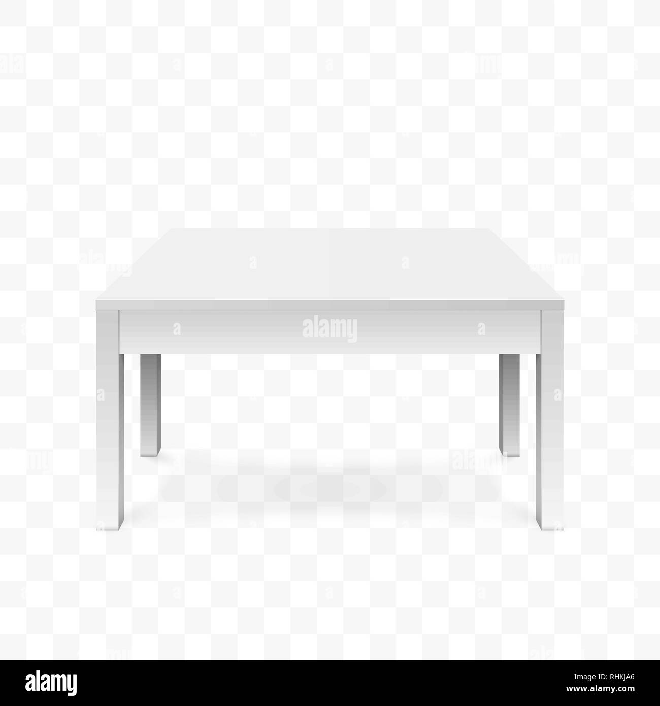 Realistic white table. White office table with shadow. Vector illustration isolated on transparent background - Stock Vector
