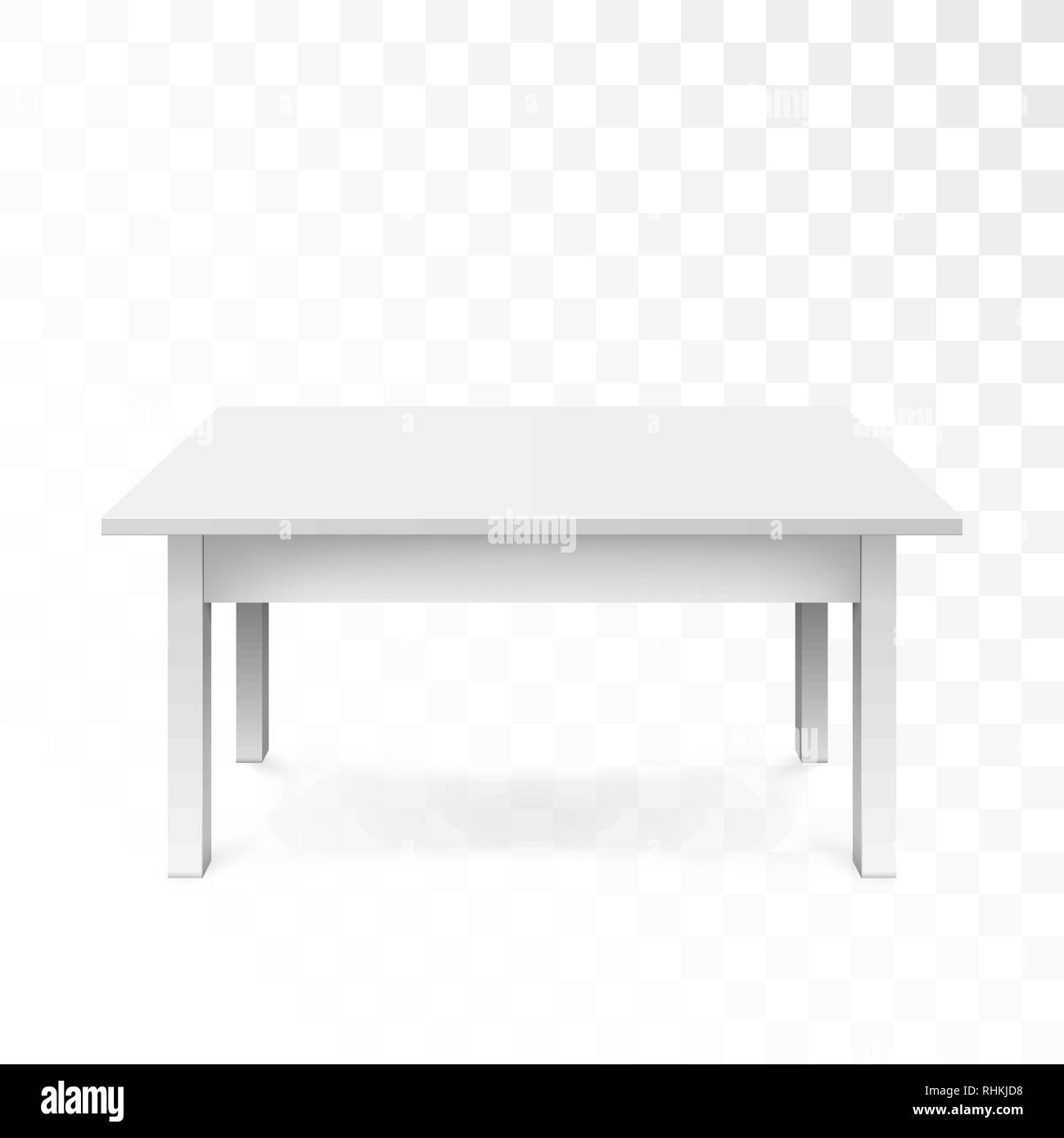 White office table with shadow isolated on transparent background. Vector illustration - Stock Vector