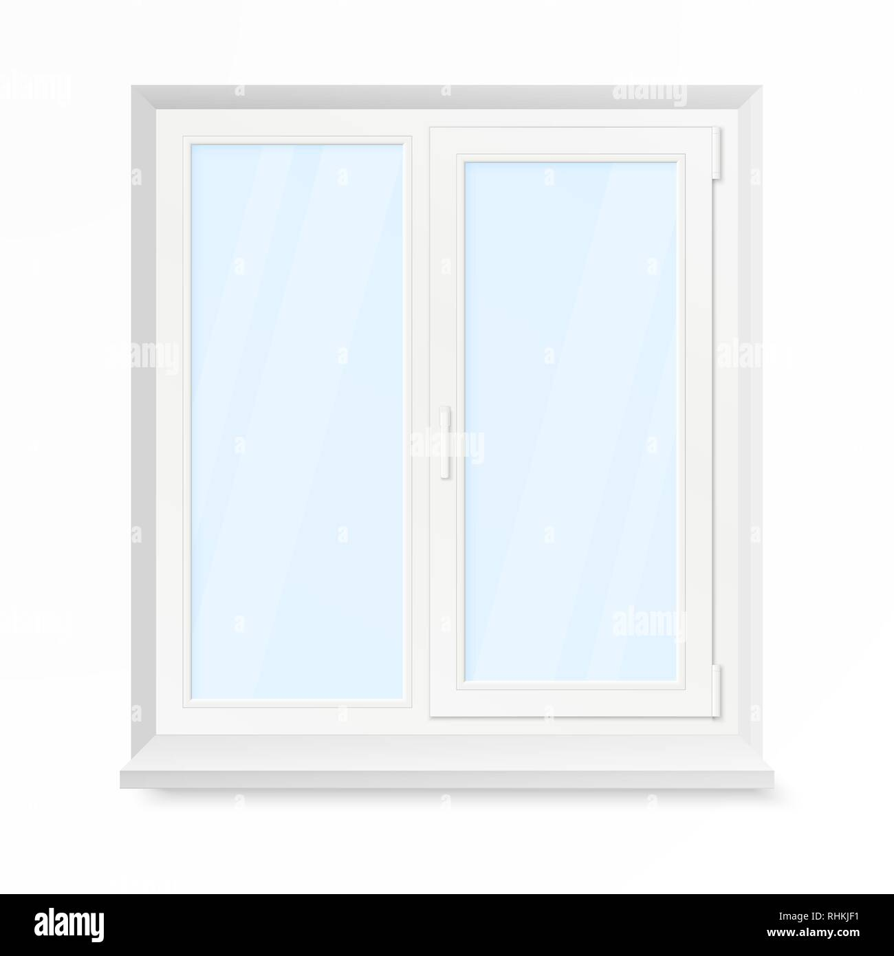 White Office Plastic Window. Window Front View. Vector Illustration Isolated on White Background - Stock Vector
