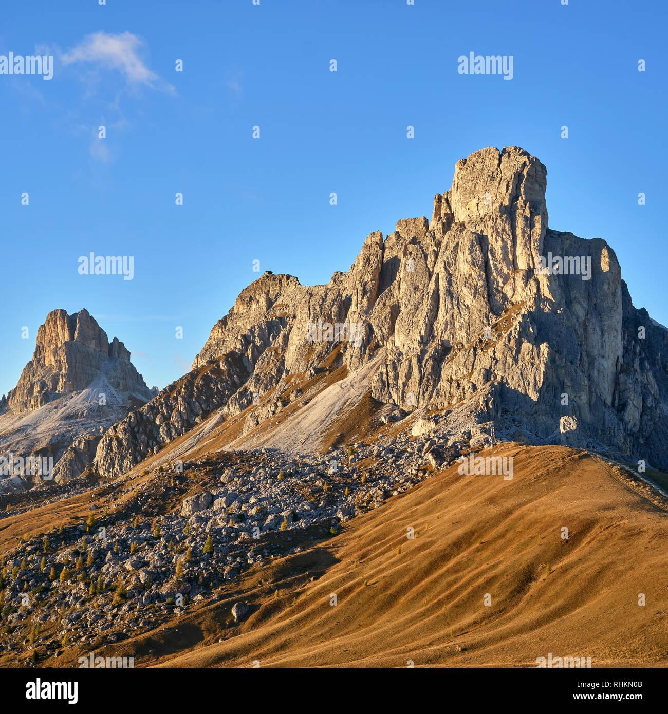 View of Ra Guesla, Nuvolau and Averau from Passo Giau, Dolomites, Belluno, Veneto, Italy - Stock Image