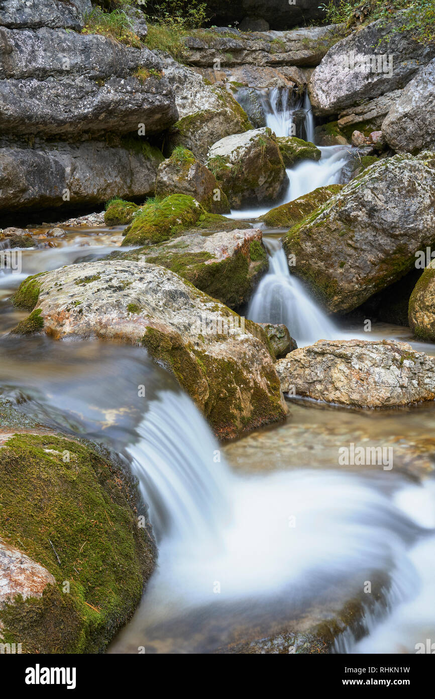 Torrente Boite, near Cortina d'Ampezzo, Dolomites, Veneto, Italy - Stock Image