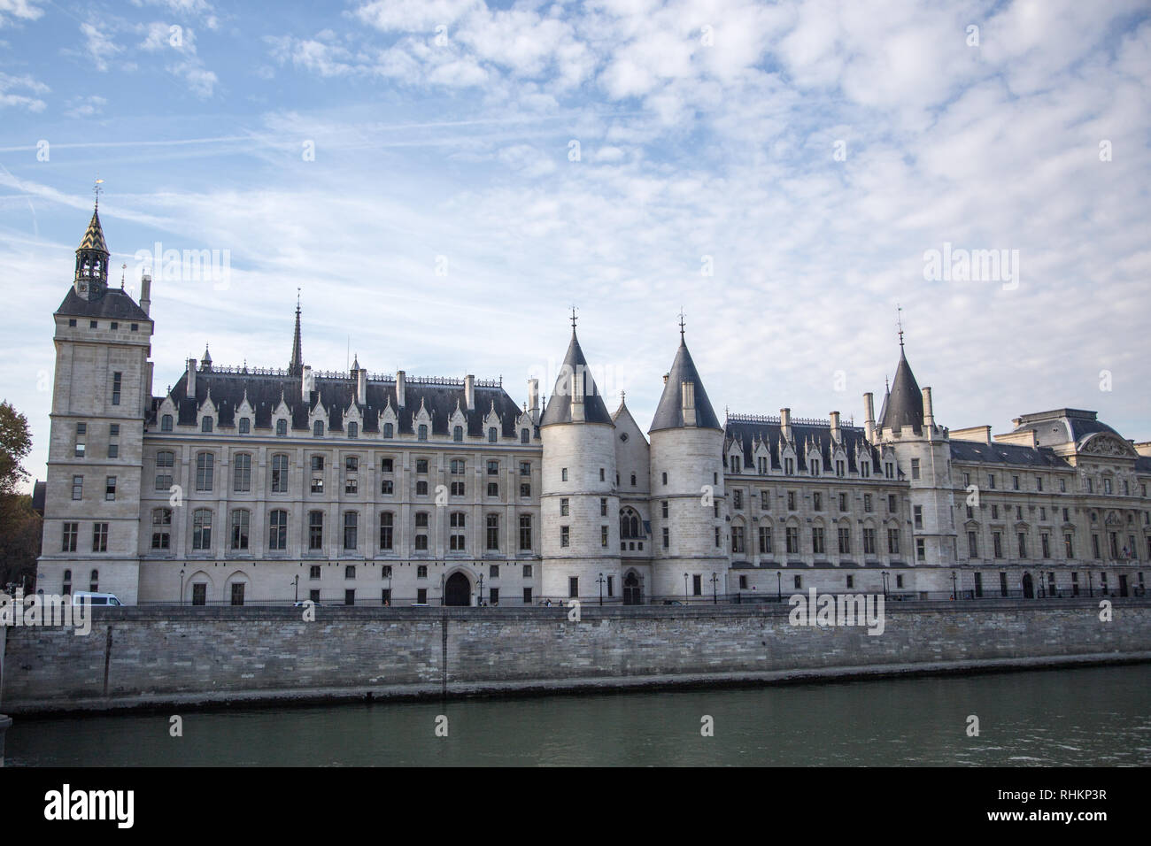 PARIS, FRANCE - OCTOBER 16, 2018: Paris Castle Conciergerie - former royal palace and prison. Conciergerie located on west of Cite Island and today -  Stock Photo