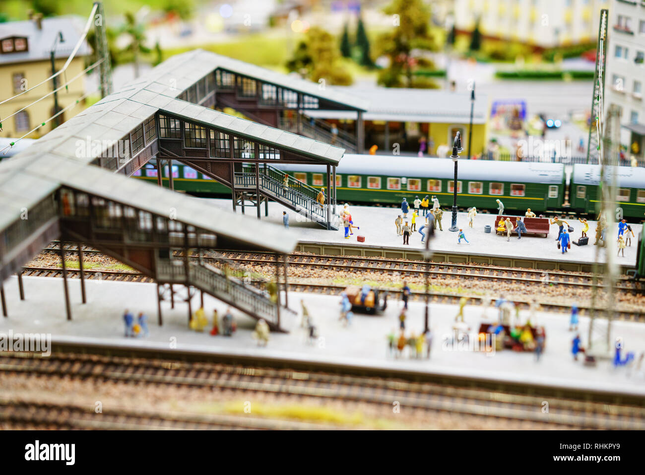 Russia in miniature Grand Layout in St. Petersburg, January 19, 2019, mini copies of people and roads and cars. Stock Photo