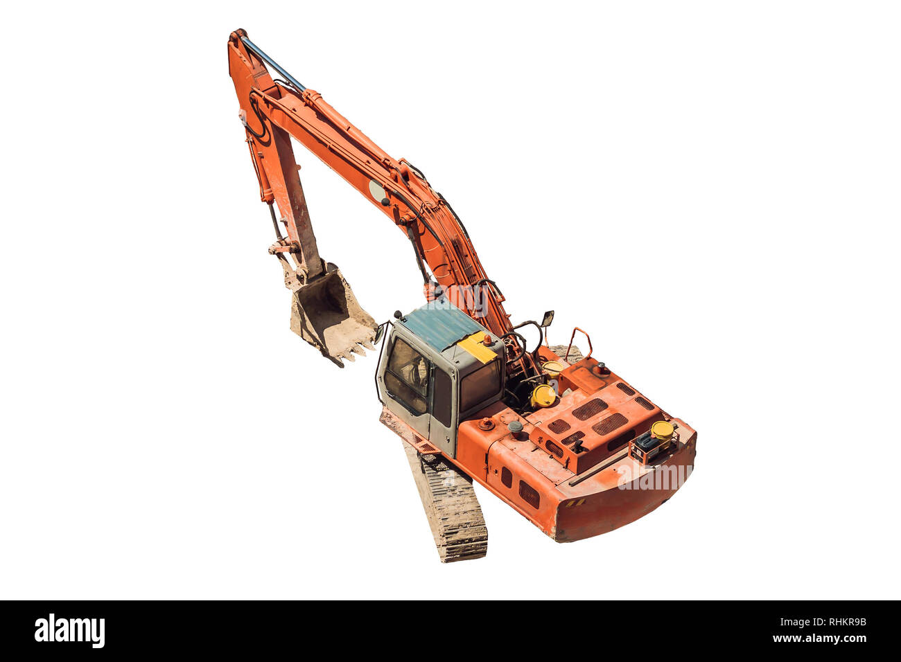Yellow Excavator on Tracks Isolated on White. Side View of Front Hoe Loader. Industrial Vehicle. Construction Heavy Equipment Machine. Pneumatic Truck - Stock Image