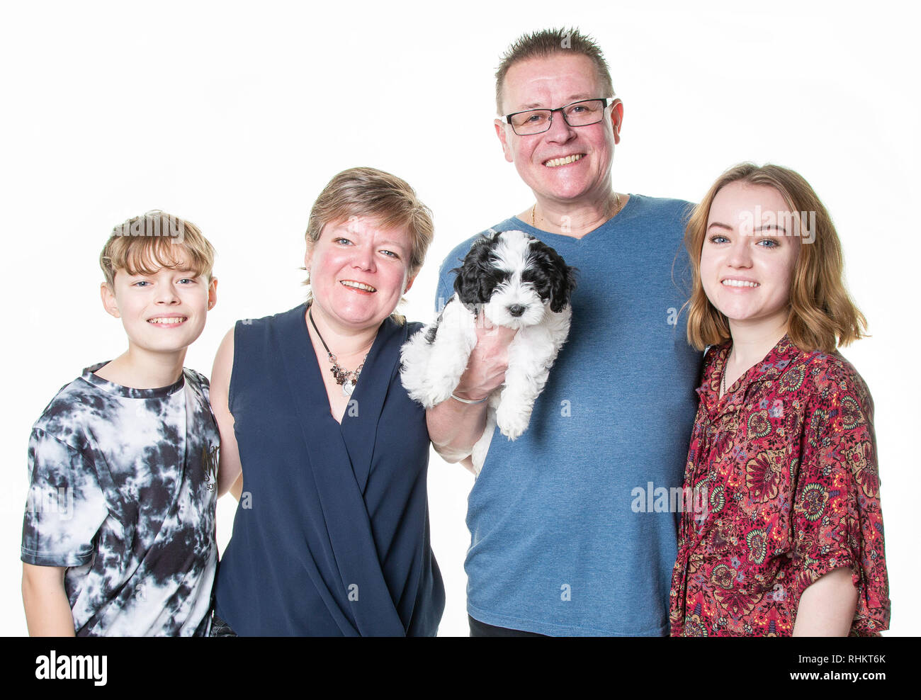 Family with dog - Stock Image