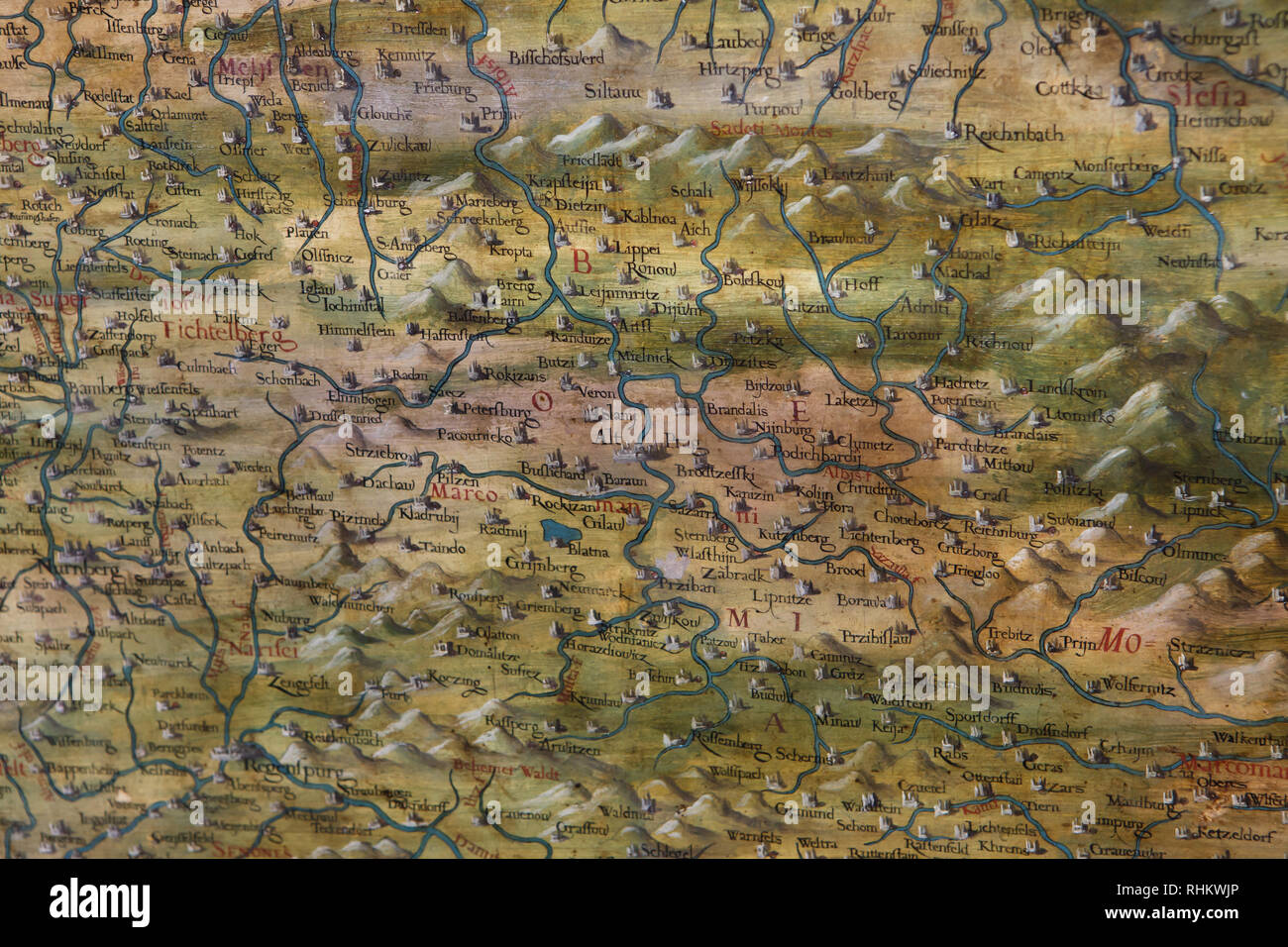 Geographical Map Of Germany.Map Of Bohemia And Germany Dated From 1564 1586 On Display In The