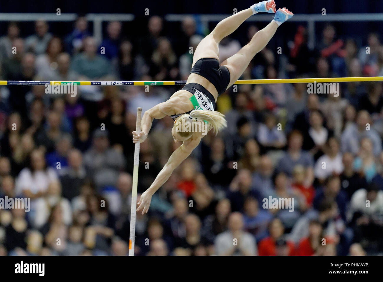Nikoleta Kyriakopoulou, GRE, pole vault at the IAAF indoor Meeting Karlsruhe 2019 Stock Photo