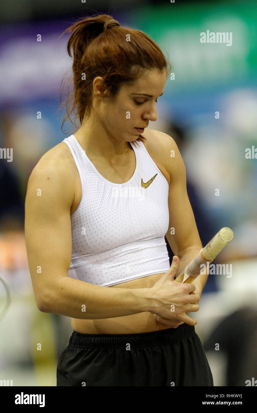 Katerina Stefanidi, GRE, pole vault at the IAAF indoor Meeting Karlsruhe 2019, Germany - Stock Image