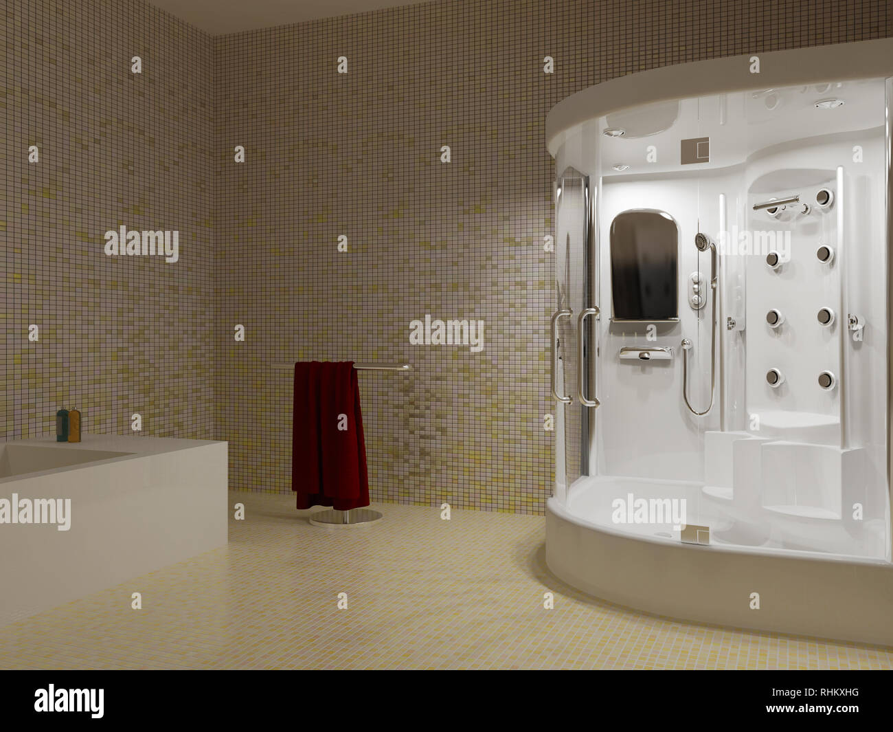 Exceptionnel High Resolution Image Interior. A Bathroom In Modern Style. 3d Illustration.