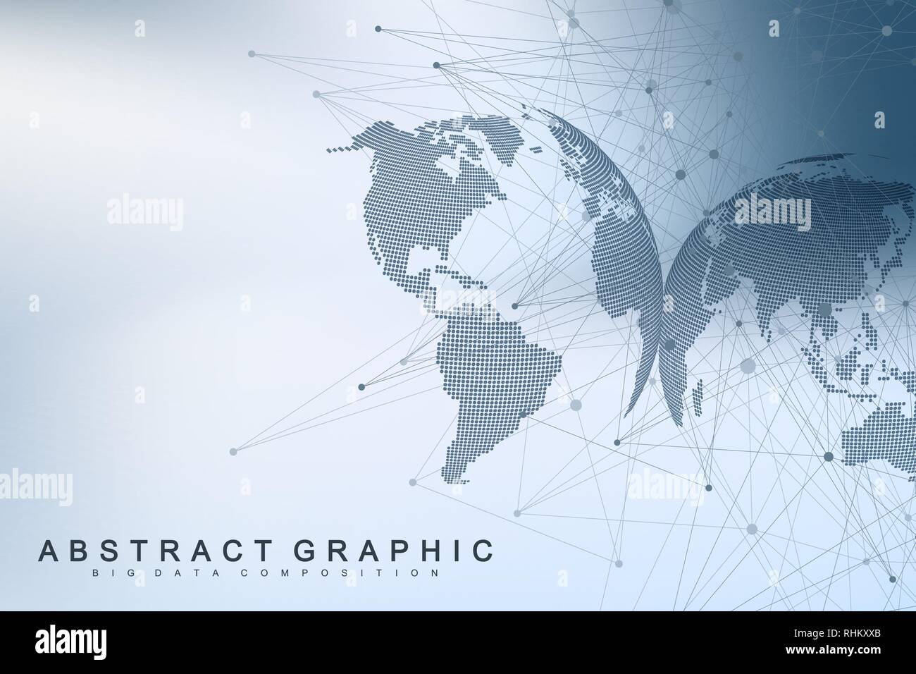 Technology abstract background with connected line and dots. Big data visualization. Artificial Intelligence and Machine Learning Concept Background - Stock Image