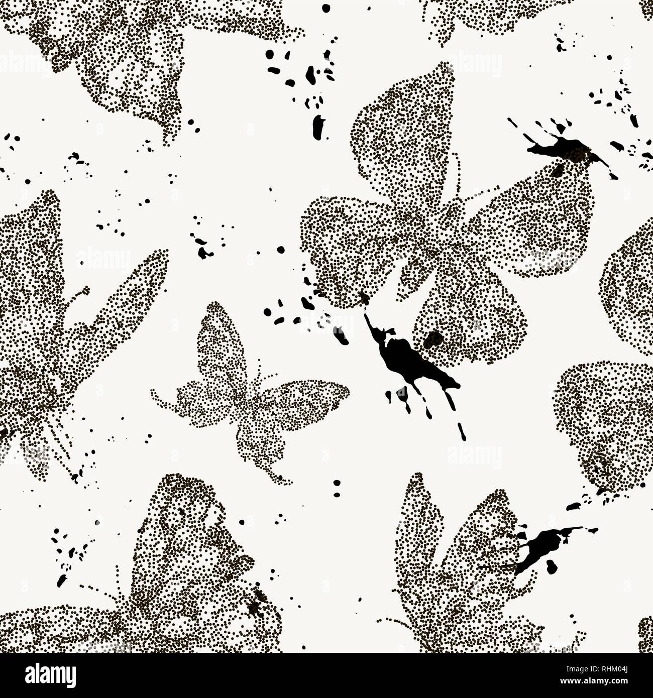 Vector spring natural seamless pattern with butterflies Stock Vector