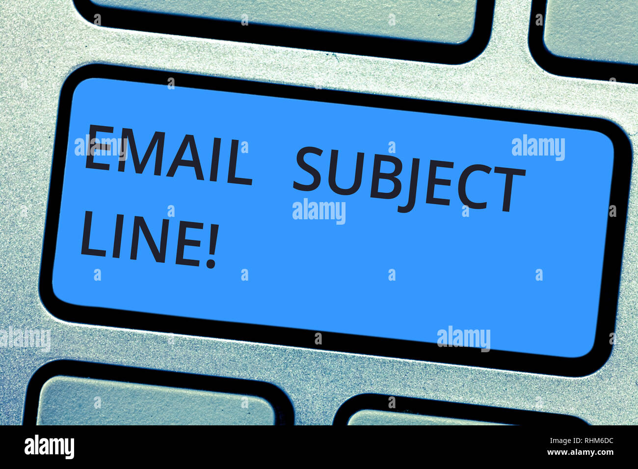 Writing note showing Email Subject Line. Business photo showcasing introduction that identifies email or message intent Keyboard key Intention to crea - Stock Image