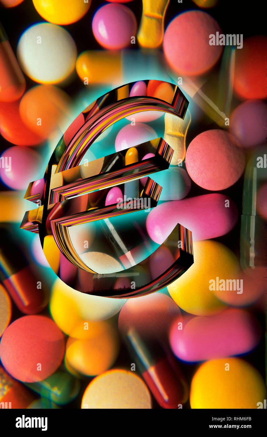 Euro sign in front of tablets, pills, capsules, illustration - Stock Image