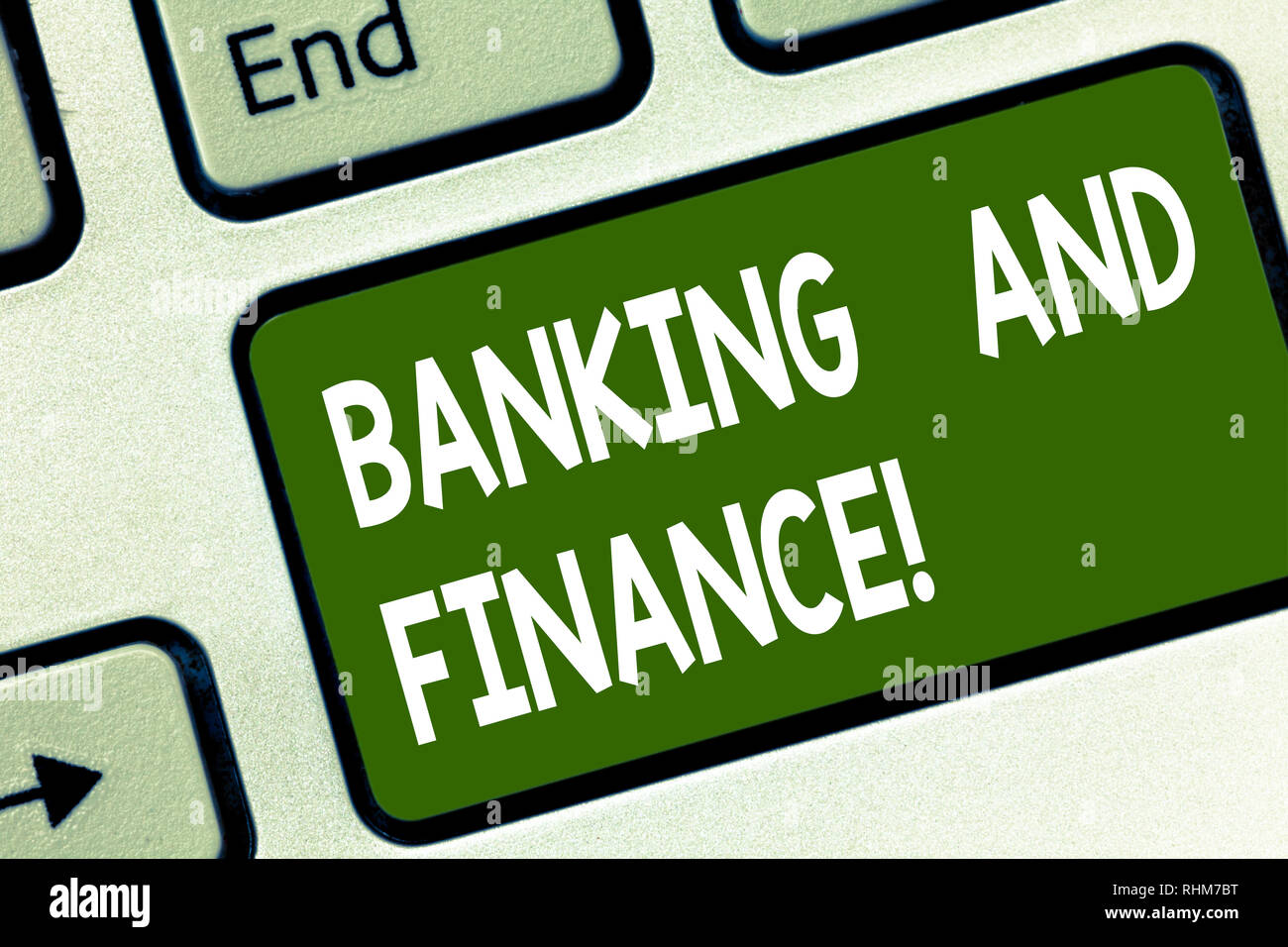Word writing text Banking And Finance. Business concept for institutions that provide variety of financial services Keyboard key Intention to create c - Stock Image