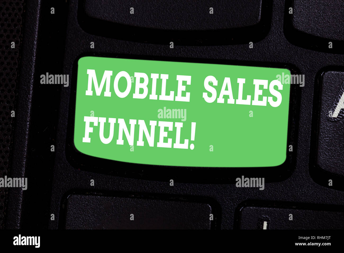 Conceptual hand writing showing Mobile Sales Funnel. Business photo showcasing visual metaphor for path taken by potential customer Keyboard key Inten - Stock Image