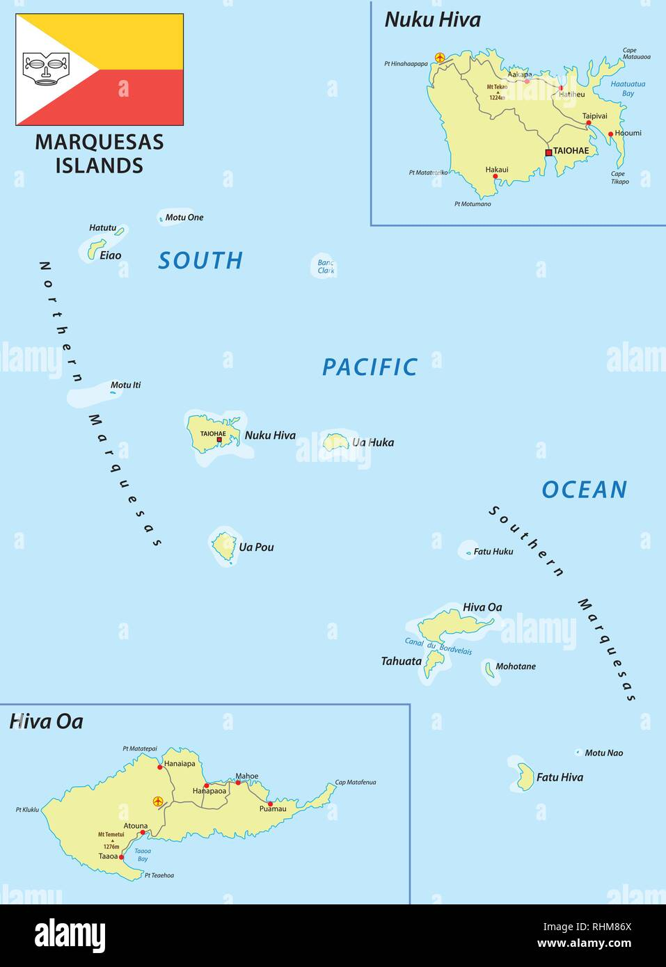 marquesas islands vector map with flag - Stock Image
