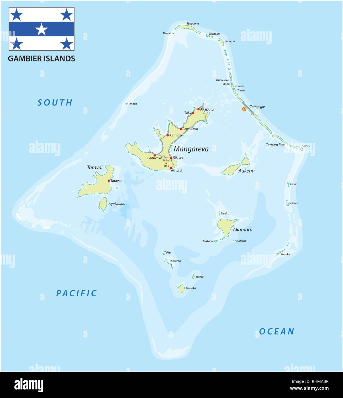 Gambier Islands vector map with flag, French Polynesia - Stock Image