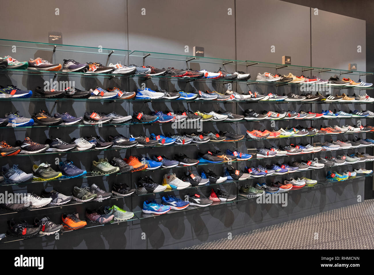 A display of running shoes for sale at