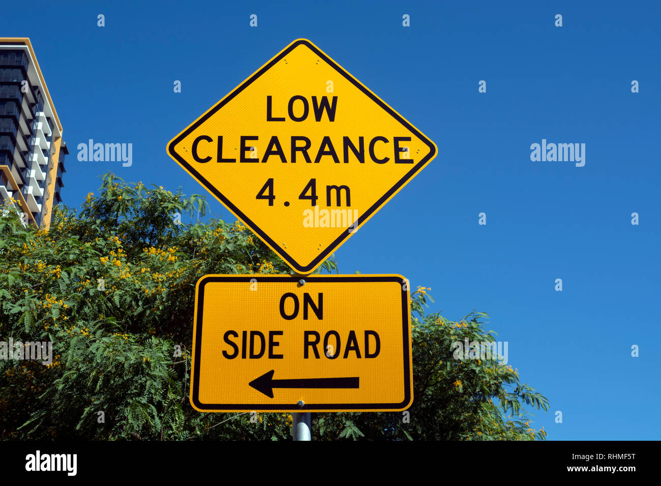 Low Clearance road sign, Brisbane city centre, Queensland, Australia - Stock Image