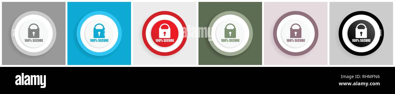 Secure icon set, vector illustrations in 6 options for web design and mobile applications - Stock Image