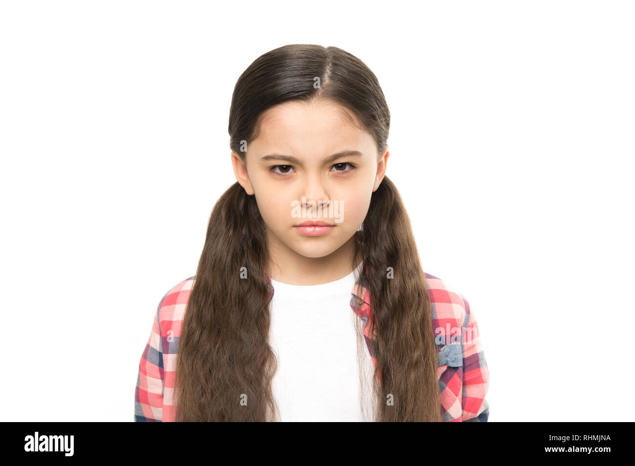 Kid girl suspect you. Brutal revenge. Unhappy child hateful glance. Someone deserve punishment revenge. Latent aggression concept. Aggression and harmful feelings. Offended kid dream about revenge. - Stock Image