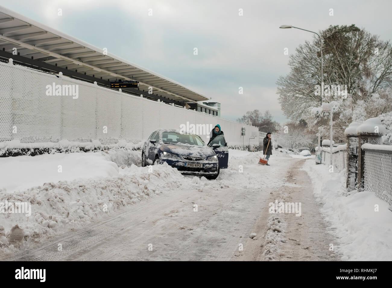 Vinter i förorten / Winter in the suburb - Stock Image