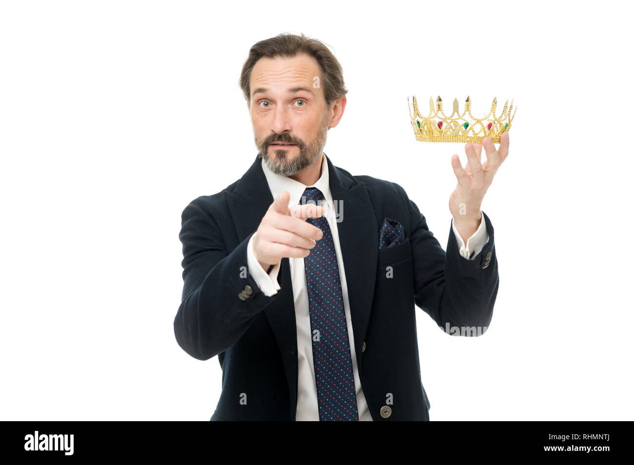 Enormous privilege. Become king ceremony. King attribute. Become next king. Monarchy family traditions. Man nature bearded guy in suit hold golden crown symbol of monarchy. Direct line to throne. - Stock Image