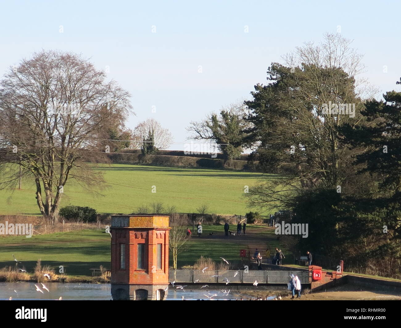 View of the Valve Tower that was part of the engineering for the supply of fresh drinking water at Sywell reservoir, completed 1906. - Stock Image