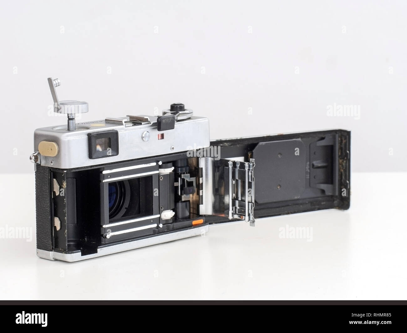 A preloved example of this classic rangefinder camera, inside view. The Canonet QL17 from Canon is a 35 mm camera first manufactured in 1972. - Stock Image